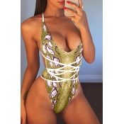 aa65eb0771 Women Yellow Snakeskin Plunging Strappy Backless High Cut Sexy Swimsuit - S