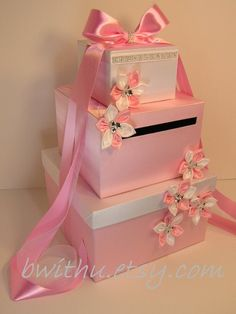 Money box perfect for the present table! Shoe boxes wrapped in paper with a little dollar store bling!