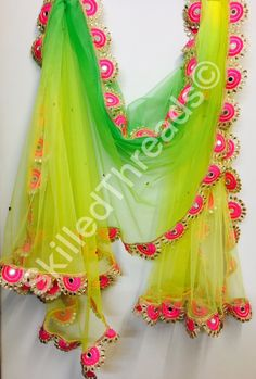 Lemon-Green Fluorescent Pastel Net Dupatta with allover stone work and lace border. Pakistani Dresses, Indian Dresses, Indian Outfits, Pakistani Bridal, Dress Neck Designs, Saree Blouse Designs, Gota Patti Saree, Bridal Dupatta, Designer Sarees Wedding