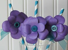 purple button flower tutorial for wedding shower ideas, straws, paper crafts, lots of buttons