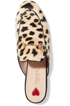 Gucci - Princetown Horsebit-detailed Leopard-print Calf Hair Slippers - Leopard print