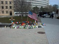 The memorial at MIT where Off. Collier was shot and killed