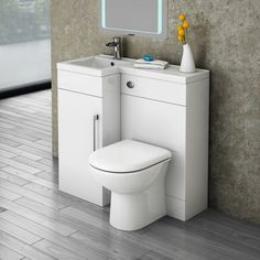 Valencia LH Combination Bathroom Suite Unit with Basin + Round Toilet Toilet And Sink Unit, Toilet Sink, Bathroom Renovation Cost, Concealed Cistern, Basin Unit, Sink Units, Downstairs Toilet, Downstairs Cloakroom, Small Toilet