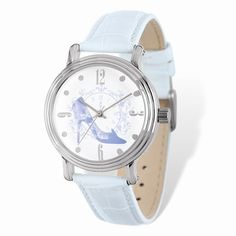 Ladies Disney Silver-tone Cinderella Slipper White Leather Watch