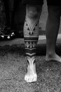 Maori Half Leg Tribal Tattoo