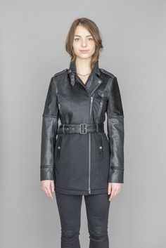 Fahreen Leather and wool jacket Pony Hair, Medium Long, S Models, Moto Jacket, Hand Weaving, Cashmere, Wool, Link, Sleeves