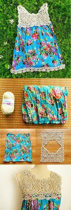 Detalhe simples e fácil de fazer. Vestido de algodão de crochê.