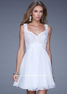 Graceful short chiffon prom dress with a jewel encrusted lace bodice. This lovely dress has a small chiffon belt around the waist and a gorgeous open back with a back zipper closure. White Chiffon, Chiffon Dress, Lace Dress, White Dress, Lace Bodice, Lace Chiffon, Dresser, Mini Short, Online Dress Shopping