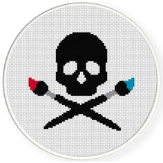 FREE for August 30th 2016 Only - Artist Skull Cross Stitch Pattern