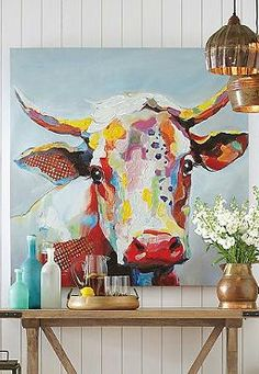 Wall Art Sure to charm your guests, the Bessie Wall Art features a darling portrait of a colorful cow, perfect for any room.Sure to charm your guests, the Bessie Wall Art features a darling portrait of a colorful cow, perfect for any room. Cow Wall Art, Cow Art, Outdoor Art, Animal Paintings, Oil Paintings, Paintings Of Cows, Painting Art, Painting Inspiration, Art Projects