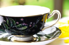 """Dark Harmony"" Royal Grafton Tea Cup and Saucer from Dad's Teacups"