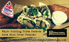 White Pudding Pitta Pockets with Salad and Mint Creme Fraiche. Black Company, Black Pudding, Pitta, Creme Fraiche, Pudding Recipes, Sandwiches, Salad, Meals, Pockets