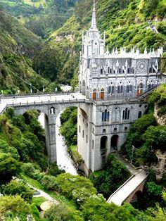 Las Lajas Cathedral - Colombia It's actually bridge and cathedral in one. The architecture of this cathedral built from 1916 to Places Around The World, The Places Youll Go, Places To See, Around The Worlds, Beautiful Castles, Beautiful Buildings, Beautiful Places, Wonderful Places, Unusual Buildings