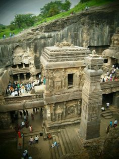 WONDERS OF ANCIENT INDIA: Kailash / Kailasa Temple, Ellora Caves, by @topupyourtrip carved from a single rocky hill-side! this marvel is the largest single monolithic monument and excavation in the world.  A UNESCO World Heritage Site, near the city of Aurangabad in western Indian state of Maharashtra