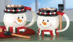2 Snowman Mugs Cups Spoon Candy Cane Hot Coffee Chocolate Soup Tea Set Shovel  #Christmas
