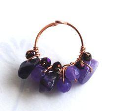 Amethyst Chip Purple Jade Crystal Copper Wire Wrap Adjustable Gemstone Ring