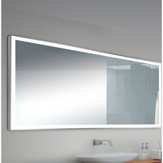 This Alcron LED Bathroom/Vanity Mirror has an aluminum frame with a frosted border, creating changeable warm/soft illumination through the frosted light edge. Comes with mounting bracket and is designed to be hardwired and UL listed.