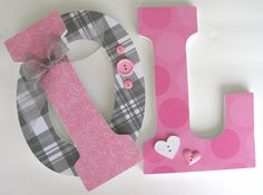 Grey & pink letters.  Love this