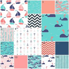 Sweet Sailor (Modern Custom Crib Option) Baby Bedding, Crib Bedding, Coral, Pink, Aqua, Mint, Navy, Nautical, Anchors, Whales Girl Nursery