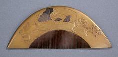 19th c. gilt lacquer kushi & kogai - by Quinn's Auction Galleries