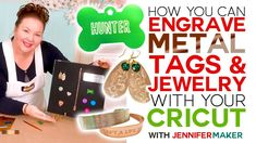 Learn how easy it is to engrave with your Cricut Maker and make personalized dog tags, charms, bracelets, earrings, and necklaces. I also share my tip for centering the Cricut Maker Engraving Tool on metal for perfect alignment. Engraved Dog Tags, Personalized Dog Tags, Engraving Tools, Metal Engraving, Cricut Craft Room, Cricut Vinyl, Cricut Air, Cricut Tutorials, Cricut Ideas