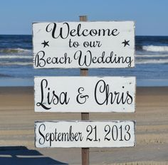 Large Directional Welcome Beach Wedding Personalized Wood Stake Sign