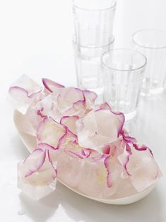 Rose petal ice cubes.