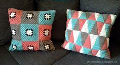 triangle & granny square crochet pillows / cushions {Häkelkissen}