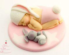 Fondant, baby bunny cake topper, baby shower, birthday