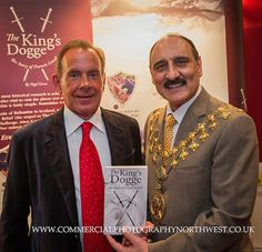 Book launch of 'The King's Dogge' by author Nigel Green seen here with Mayor of Trafford Dylan Butt | Martin Hambleton commercial photographer