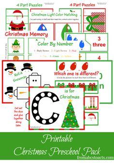 Printable Christmas Tot School/Pre-K Pack. Printable Christmas theme unit pack for toddlers and preschoolers.