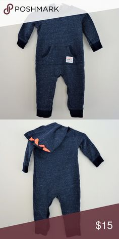 """NWOT Baby Unisex Carter's Hooded Romper - 9 Months New Without Tags, Blue Baby Unisex Hooded Romper with Orange Dinosaur Spikes on Hood and Front Pocket with the words, """"Mommy's Little Wild One"""". Brand - Carter's. Size - 9 Months (but could fit smaller). *BUNDLE AND SAVE WITH ALL BABY CLOTHES!* Carter's One Pieces Bodysuits"""