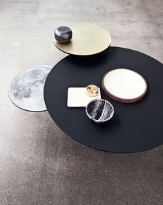 Bolia 2015 collection / Coffee Table / Eclipse - Linolium / Black linoleum, Brass/Moon. Buy it here: www.bolia.com/...
