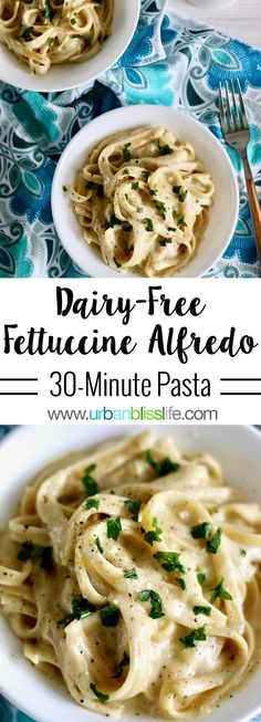 This vegan, Dairy-Free Fettuccine Alfredo is a rich, creamy, oh-so-satisfying easy dinner recipe you'll love! Recipe on UrbanBlissLife.com. #dairyfree #vegan #fettuccinealfredo #pasta #dinner #dinnerrecipes #easydinner