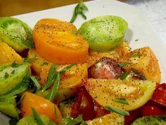 Eli Zabar's Heirloom Tomatoes with Tarragon with lots of salt, vinegar, and tarragon - no oil.