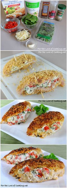 Panko Crusted Chicken Stuffed with Ricotta, Spinach, Tomatoes, and Basil by fortheloveofcooking via kissrecipe #Chicken #Ricotta #Tomatoes #Basil