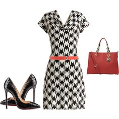 """blanco y negro. Access rojos """"Houndstooth Style"""" by ymelda on Polyvore"""