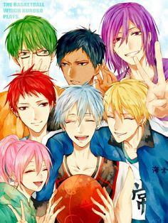 anime, basketball, friends, friendship, group, happy, kise ryouta, kuroko no basuke, kuroko tetsuya, laugh, smile, akashi seijuurou, atsushi murasakibara, midorima shintarou, aomine daiki, momoi satsuki