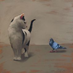 Cat and Pigeon and news about an upcoming show in Cleveland, painting by artist Diane Hoeptner