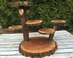 Wood burned initials, date heart Collapsible 6 Tier Walnut Rustic Cake Cupcake jewelry plant Stand Wedding party shower wooden 6 tiered