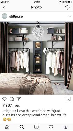 Debbie: I like the open closet for main house. Considering on locker room design in a small space bedroom could be a hard problem to solve. You should find ideas and inspirations on it carefully. Bedroom Decor, Decor Room, Home Decor, Teen Bedroom, Master Bedroom, Bedroom Wardrobe, No Closet Bedroom, Bedroom 2018, Modern Bedroom
