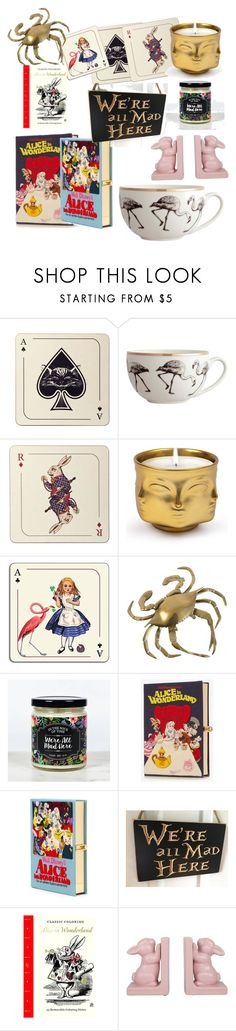 """""""We're all mad here"""" by switchkid ❤ liked on Polyvore featuring interior, interiors, interior design, home, home decor, interior decorating, Avenida Home, Jonathan Adler, Olympia Le-Tan and Abrams"""