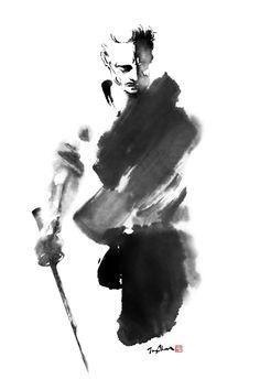 Samurai Drawing, Samurai Artwork, Samurai Tattoo, Japanese Drawings, Japanese Art, Aikido Martial Arts, Zen Painting, Japanese Warrior, Warrior Spirit
