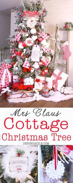 Mrs Claus Cottage Christmas Tree - hand painted ribbon, red and white cottage decor | Design Dazzle