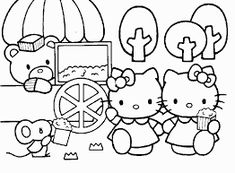 Hello Kitty Eating Popcorns With Friends Coloring Page