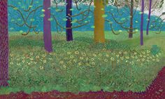 David Hockney, 'The Arrival Of Spring', 144 x 384 inches. Courtesy of the artist/© David Hockney/Photo Jonathan Wilkinson. David Hockney Landscapes, David Hockney Paintings, Robert Rauschenberg, Edward Hopper, Tree Canvas, Canvas Wall Art, Pop Art Movement, Van Gogh Museum, Royal Academy Of Arts