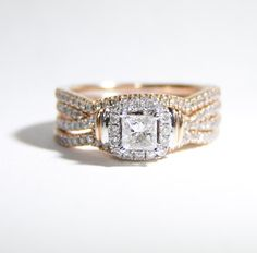 Rose Gold and Diamond Engagement Ring and by LadyLibertyGold