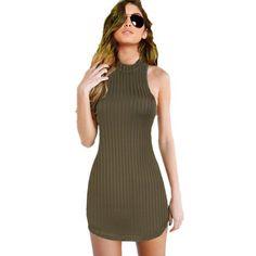 GD162 Nueva SL Para Mujer Verde Oliva Stripped Halter Vestido Ajustado Mini Vestido de Partido Del Club
