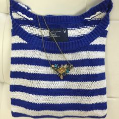 AMERICAN EAGLE Nautical striped sweater Perfect with any pair of jeans—soft knit sweater . See me if interested in necklace American Eagle Outfitters Sweaters Crew & Scoop Necks