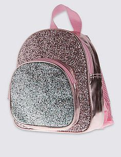 Kids' Faux Leather Glitter Bag Rucksack